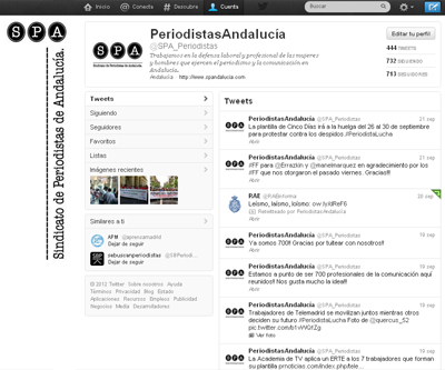Twitter del Sindicato de Periodistas de Andalucía